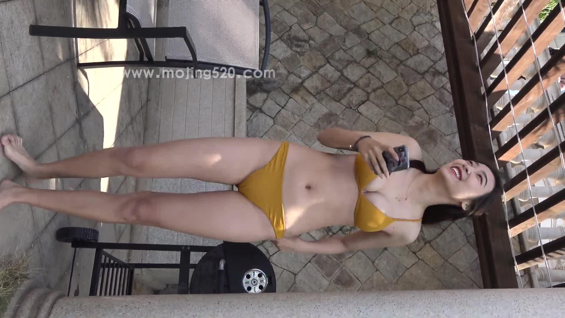 4K 黄色比基尼性感小姐姐 1 Sexy Yellow Bikini Swimsuit Beauty
