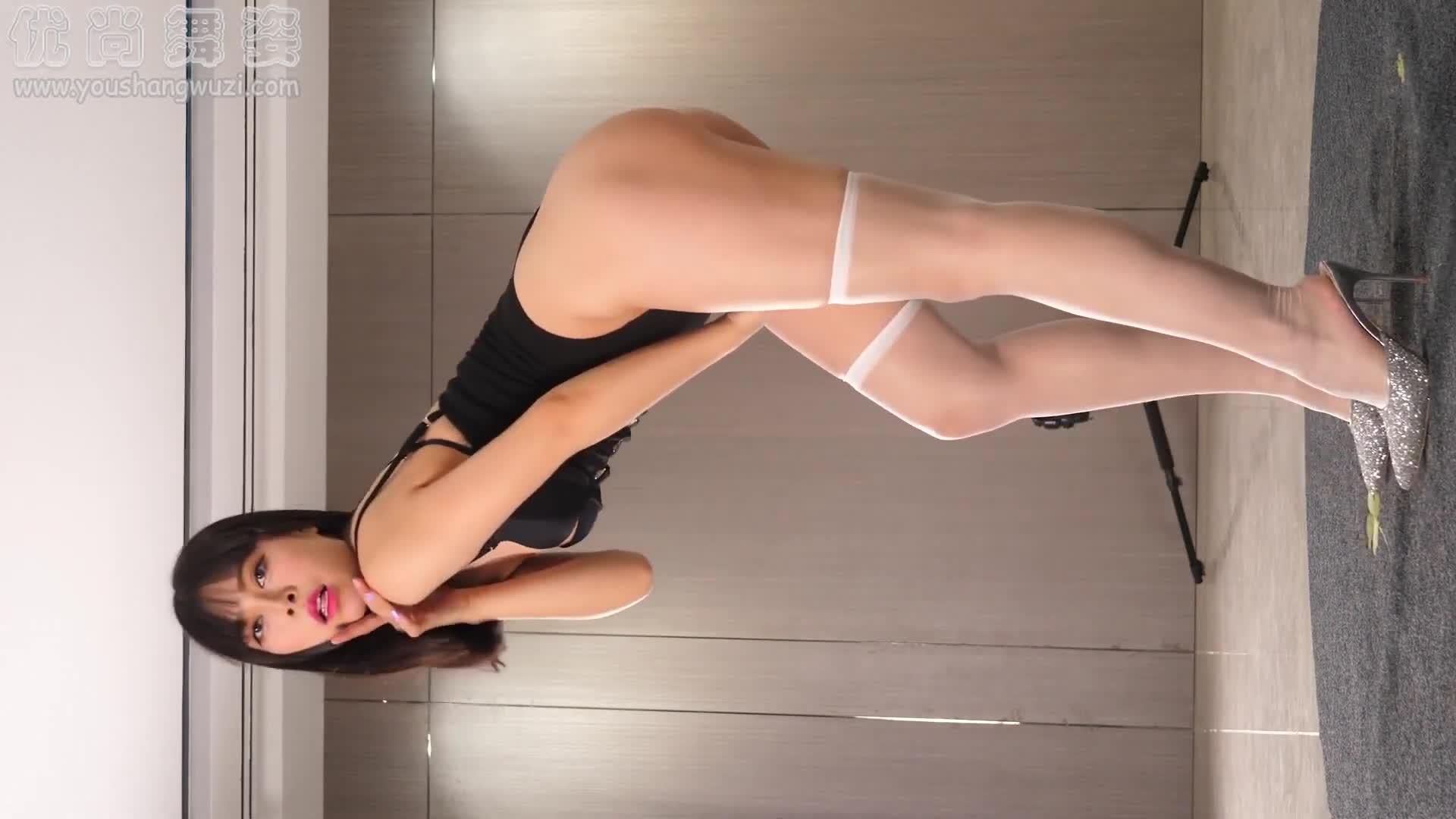 Sexy Dance 純純 白色長筒襪+黑色連體衣 精彩熱舞賞析