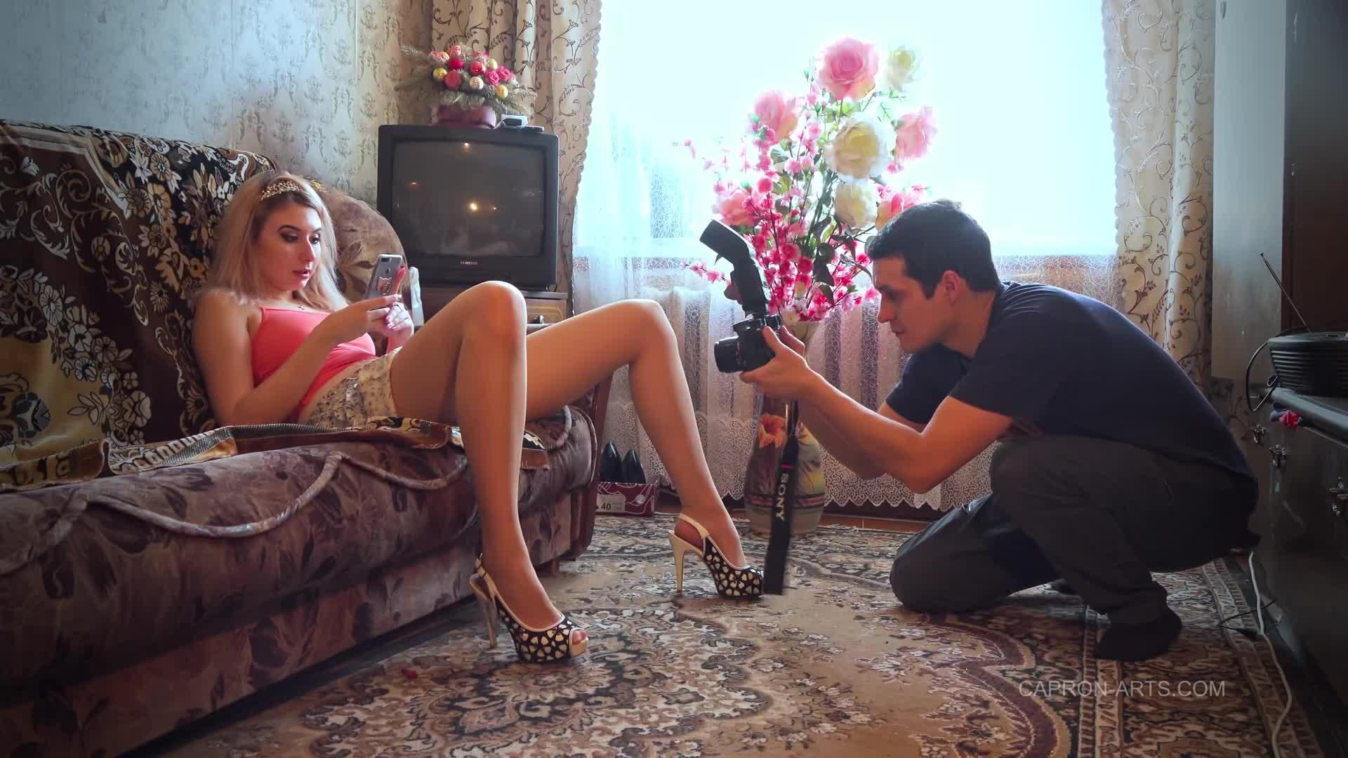 Cute country girl Yana posing in sheer glossy pantyhose at home 2020-01(1)